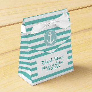 Nautical anchor aqua blue stripe wedding favor box