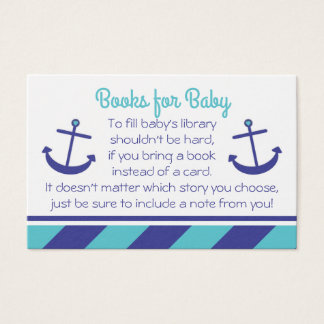 Nautical Anchor Baby Shower Bring a Book Blue Business Card