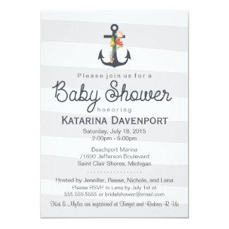 Nautical Anchor Baby Shower Invitation - Boy, Girl