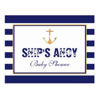 Nautical Anchor Baby Shower Invitation Postcard