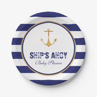 Nautical Anchor Baby Shower Paper Plate