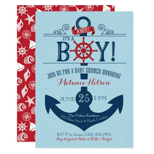 Nautical Anchor Beach Baby Shower Invitation