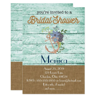 Nautical Anchor Beach Bridal Shower Invitation