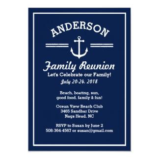 """Nautical Anchor Beach House Family Reunion Trip 5"""" X 7"""" Invitation Card"""