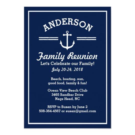 Nautical Anchor Beach House Family Reunion Trip Card