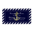 Nautical Anchor Blu Wht Diag Stripe H Bottle Label