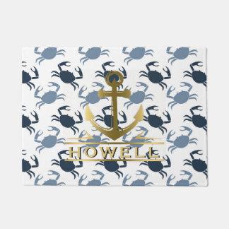 Nautical Anchor Blue Crabs Beach House Name Doormat