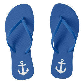Nautical Anchor Blue Flip Flops