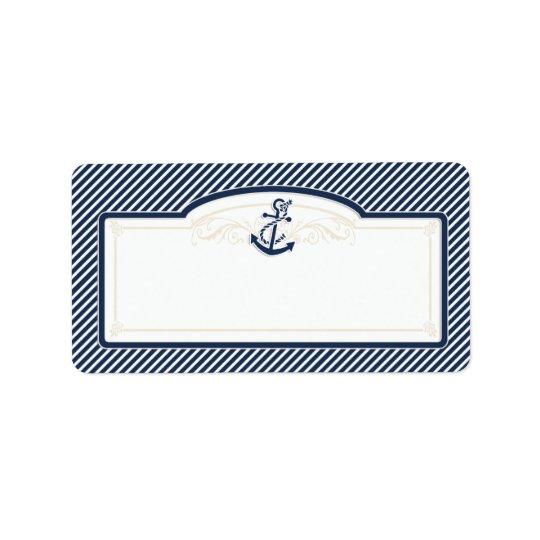 Nautical Anchor Boat Diagonal Stripes Swirl Modern Label
