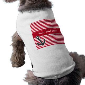 Nautical Anchor; Cadmium Red Stripes; Striped Pet Tee Shirt
