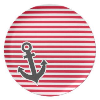 Nautical Anchor; Cadmium Red Stripes; Striped Plates