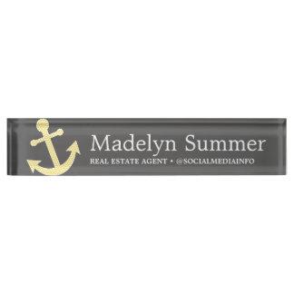 Nautical Anchor Chalkboard Gray Yellow Real Estate Nameplates