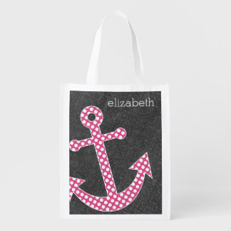 Nautical Anchor Chalkboard Hot Pink Polka Dots Reusable Grocery Bag