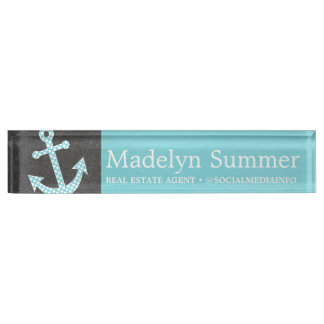 Nautical Anchor Chalkboard Teal Blue Real Estate Nameplates