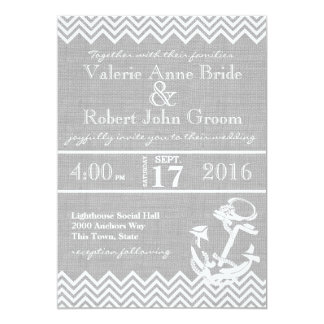 "Nautical Anchor Chevron Beach Wedding 5"" X 7"" Invitation Card"