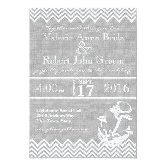 Nautical Anchor Chevron Beach Wedding Card