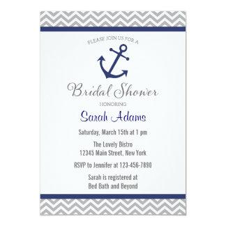 Nautical Anchor Chevron Bridal Shower Invitation