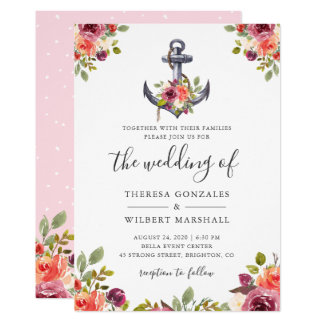 Nautical Anchor Chic Watercolor Floral Wedding Card