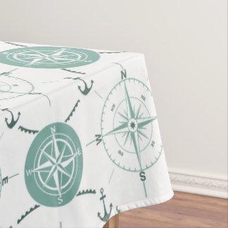 Nautical Anchor Compass sea green white ocean Tablecloth