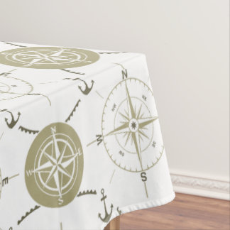 Nautical Anchor Compass taupe white brown ocean Tablecloth