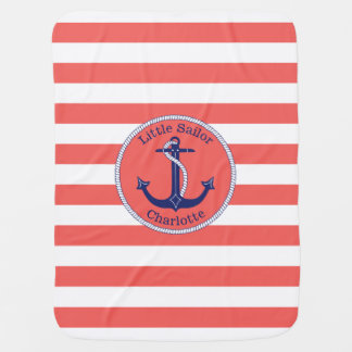 Nautical Anchor Coral Striped Personalized Girl's Swaddle Blankets
