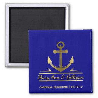 Nautical Anchor Cruise Ship Wedding Favor Navy Square Magnet