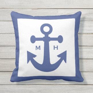 Nautical Anchor custom monogram throw pillow