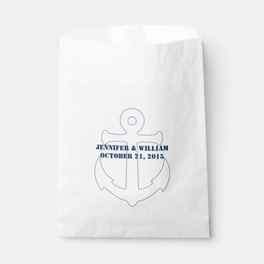 Nautical Anchor Custom Wedding Favour Bag