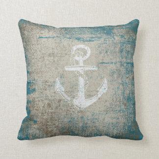 Nautical Anchor Distressed Grunge Throw Pillow