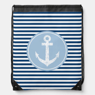 Nautical anchor drawstring bag | navy blue stripes