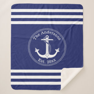 Nautical Anchor Family Name Choose Color Sherpa Blanket