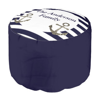 Nautical Anchor Family Name Living Room Seating Pouf