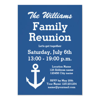 Nautical anchor family reunion party invitations