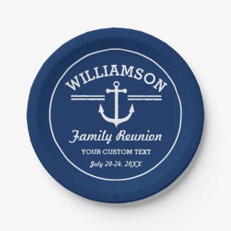 Nautical Anchor Family Reunion Trip Cruise Beach 7 Inch Paper Plate