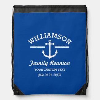 Nautical Anchor Family Reunion Trip Cruise Beach Drawstring Backpack