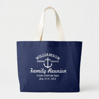 Nautical Anchor Family Reunion Trip Cruise Beach Jumbo Tote Bag