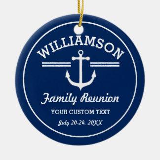 Nautical Anchor Family Reunion Trip Cruise Beach Round Ceramic Ornament