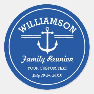 Nautical Anchor Family Reunion Trip Cruise Beach Round Sticker