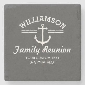 Nautical Anchor Family Reunion Trip Cruise Beach Stone Beverage Coaster