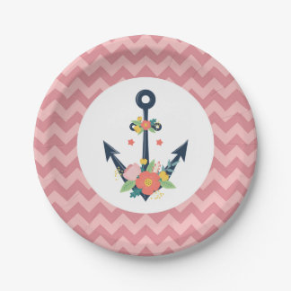 Nautical Anchor Floral Baby Girl Shower Party Paper Plate