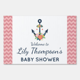 Nautical Anchor Floral Baby Girl Shower Welcome Sign