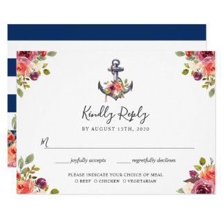 Nautical Anchor Floral Navy Blue Stripes RSVP Card