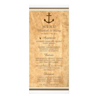 Nautical Anchor Framed Vintage Paper Wedding Menu Full Color Rack Card