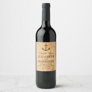 Nautical Anchor Framed Vintage Paper Wedding Wine Label