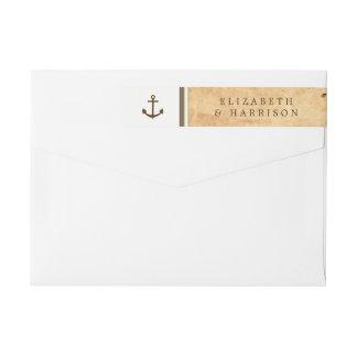 Nautical Anchor Framed Vintage Paper Wedding Wrap Around Label