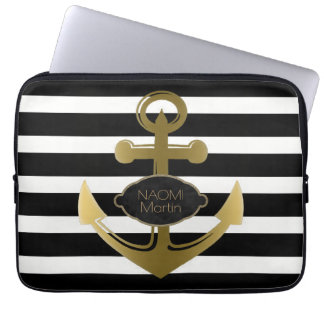Nautical Anchor Gold Name Modern Black Stripes Laptop Sleeve
