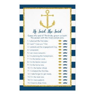 Nautical Anchor He Said She Said Bridal Game Flyer