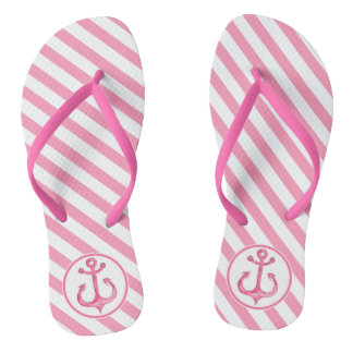 Nautical Anchor | Hot Pink Striped Flip flops
