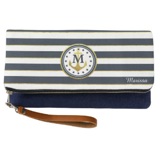 Nautical Anchor in Navy/Gold Clutch