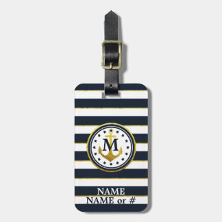 Nautical Anchor in Navy/Gold Luggage Tag